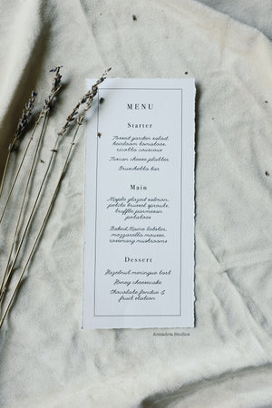 Caroline & Edward deckle edge menu cards