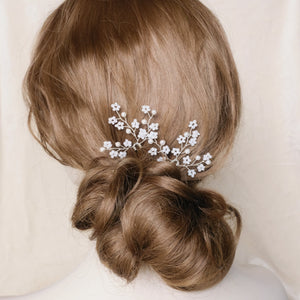Wedding updo chignon with curls vintage style bride hair accessories