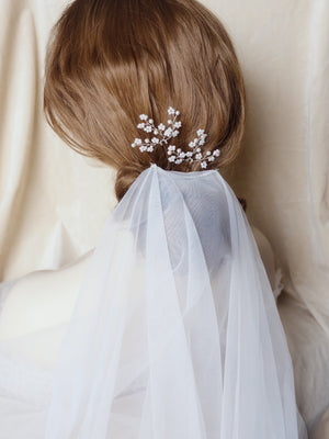 Classic bridal hair updo with veil handmade pearl hair pins