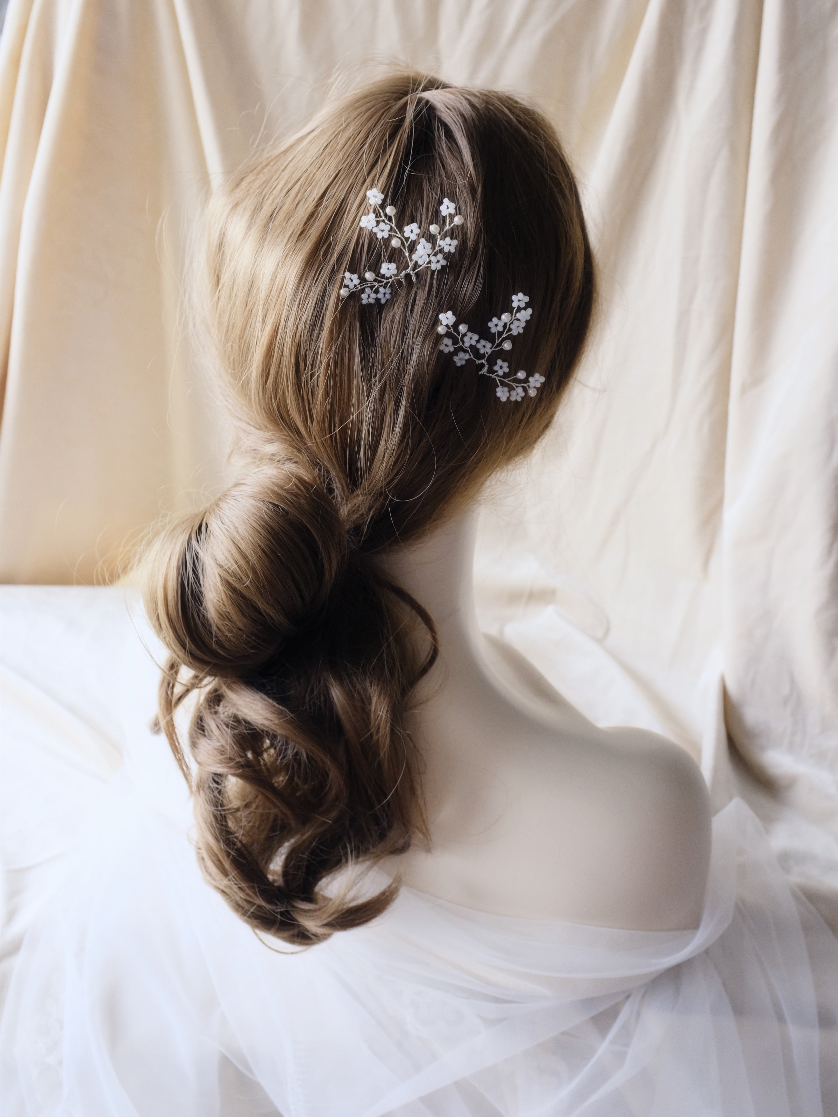 Bridal hair updo, Singapore handmade wedding hair pins