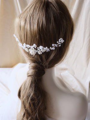 Bohemian wedding hair accessories for the bride, handmade beaded with Swarovski pearls and Japanese beads