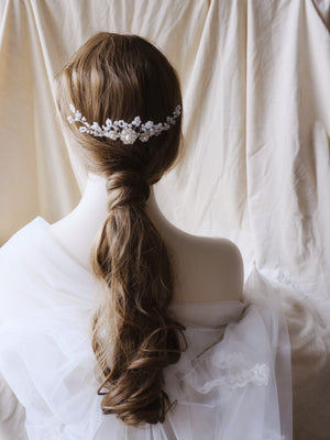 Wedding hairstyle for long hair brunette, handmade hair accessories for brides and bridesmaids