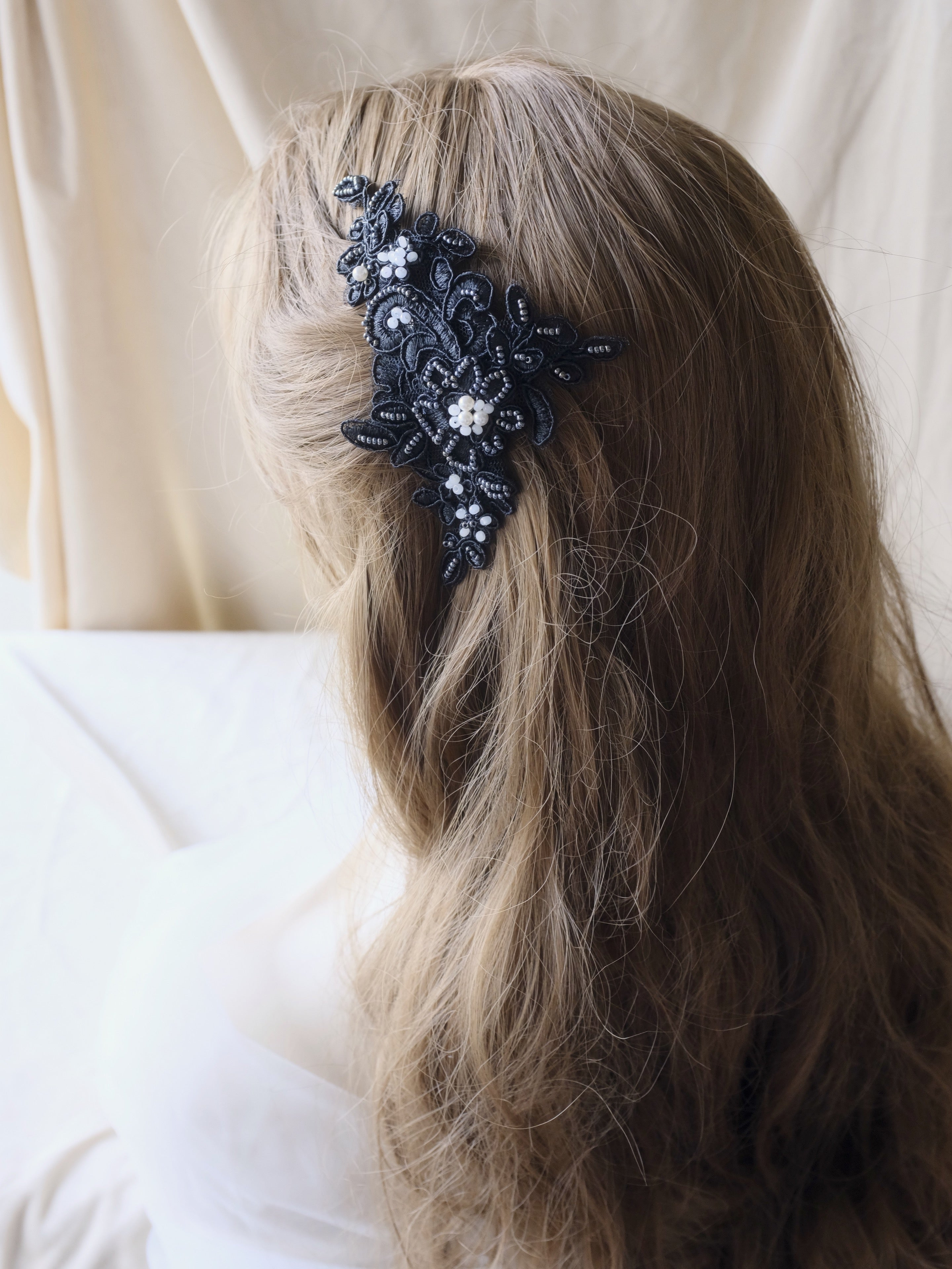 Black wedding hair accessories, beaded lace hair comb for bride