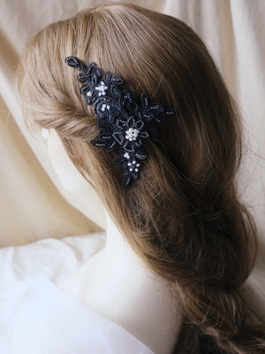 Alternative bridal hairstyle, black lace hair comb for unusual brides