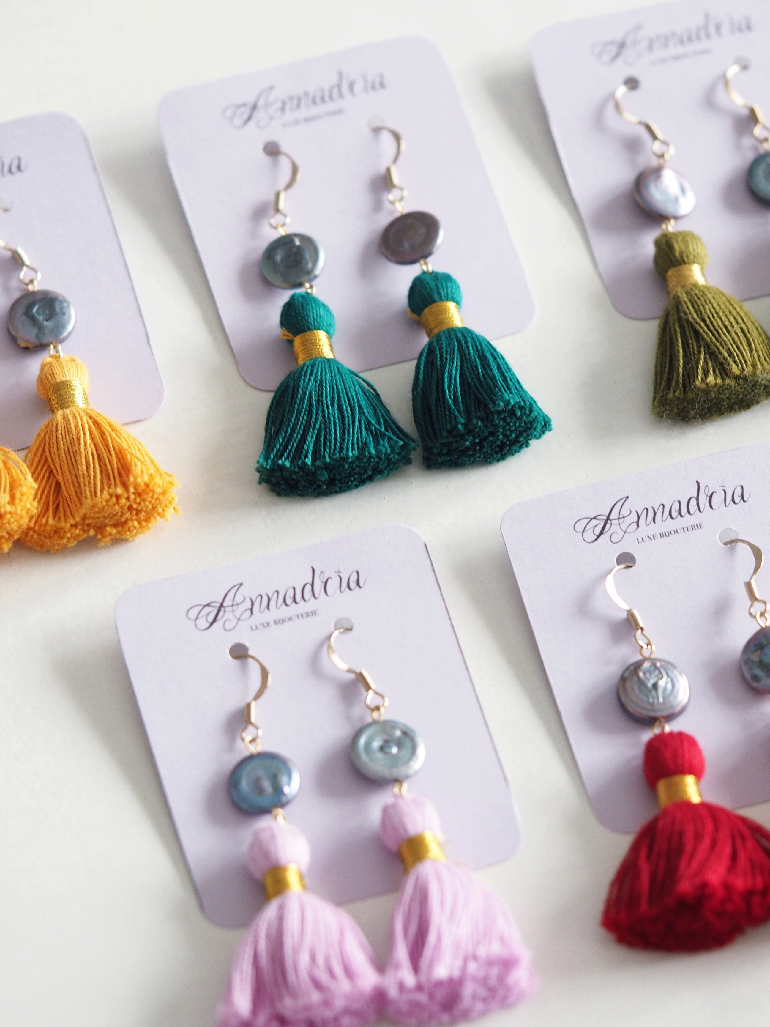 Bohemian pink red green yellow tassel earrings with gold binding