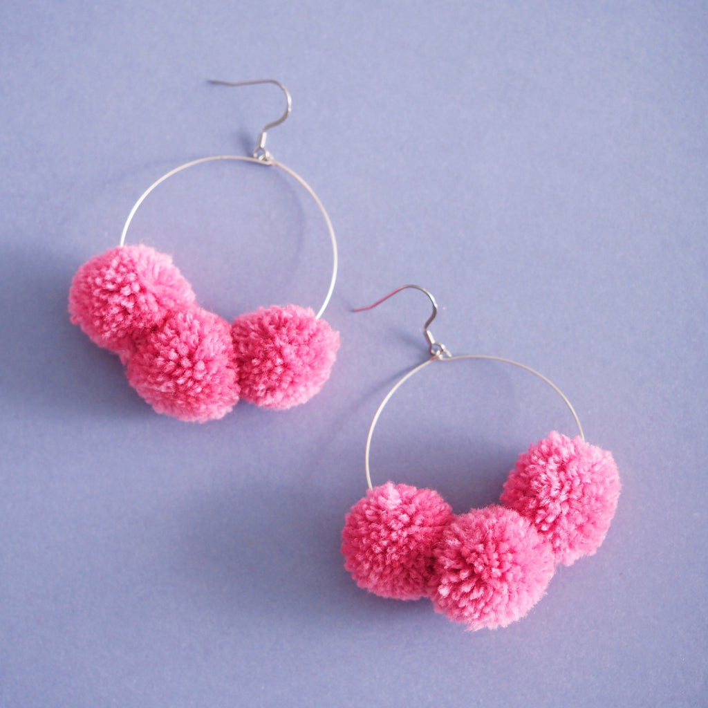 Betty pom pom earrings in Watermelon Pink