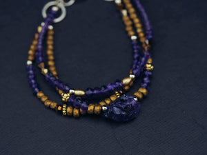 Handmade gemstone bracelet purple amethyst gold hematite gift for women