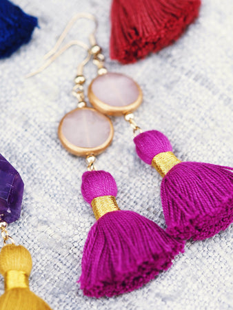 Arabella earrings in Rose Quartz