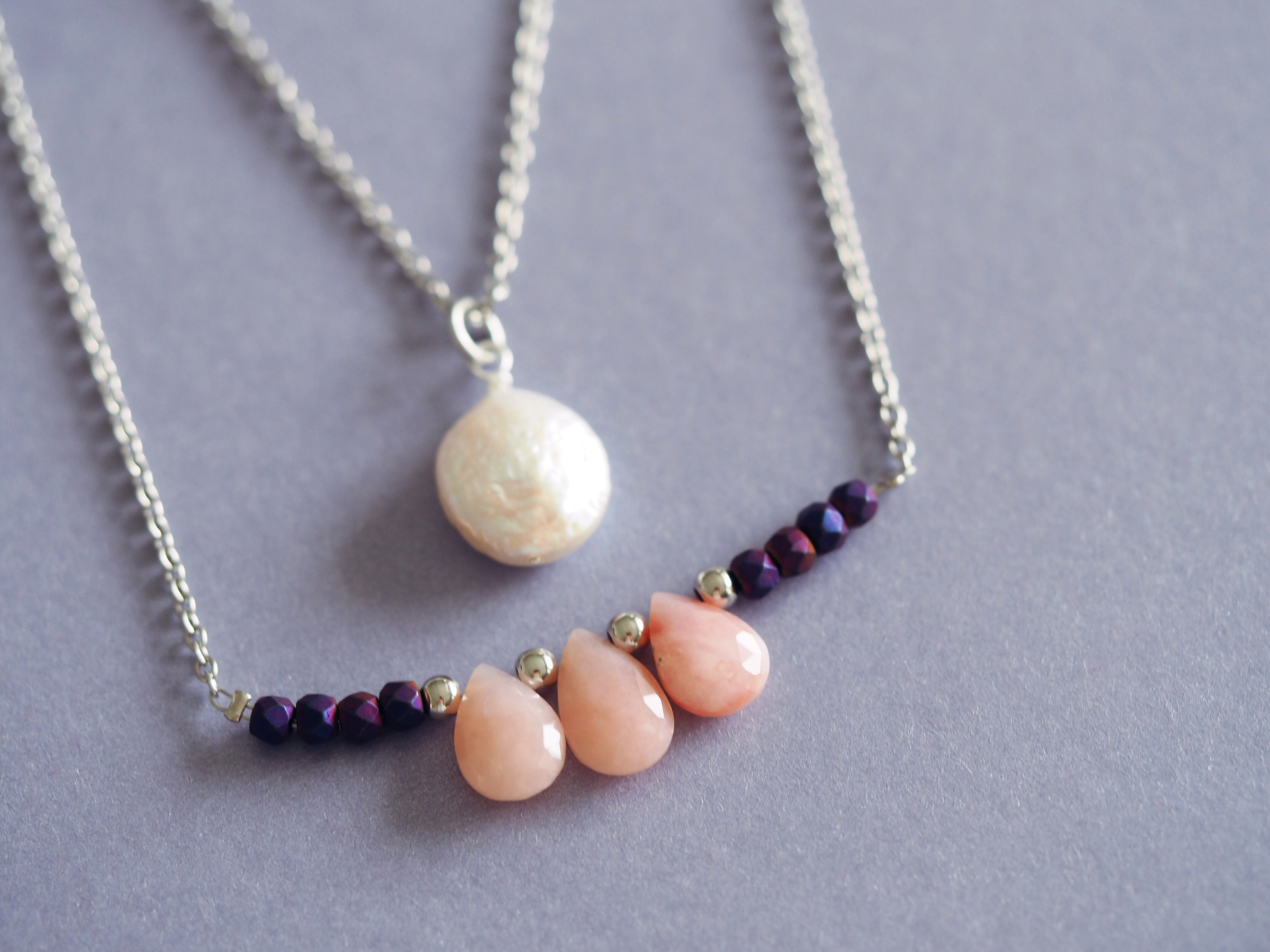 Freshwater coin pearl and pink opal necklace handmade