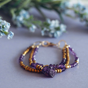 Luxury amethyst bracelet handmade raw crystal quartz