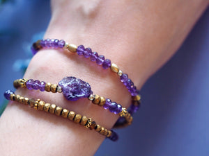 Antique style jewellery gemstone amethyst multi strand bracelet