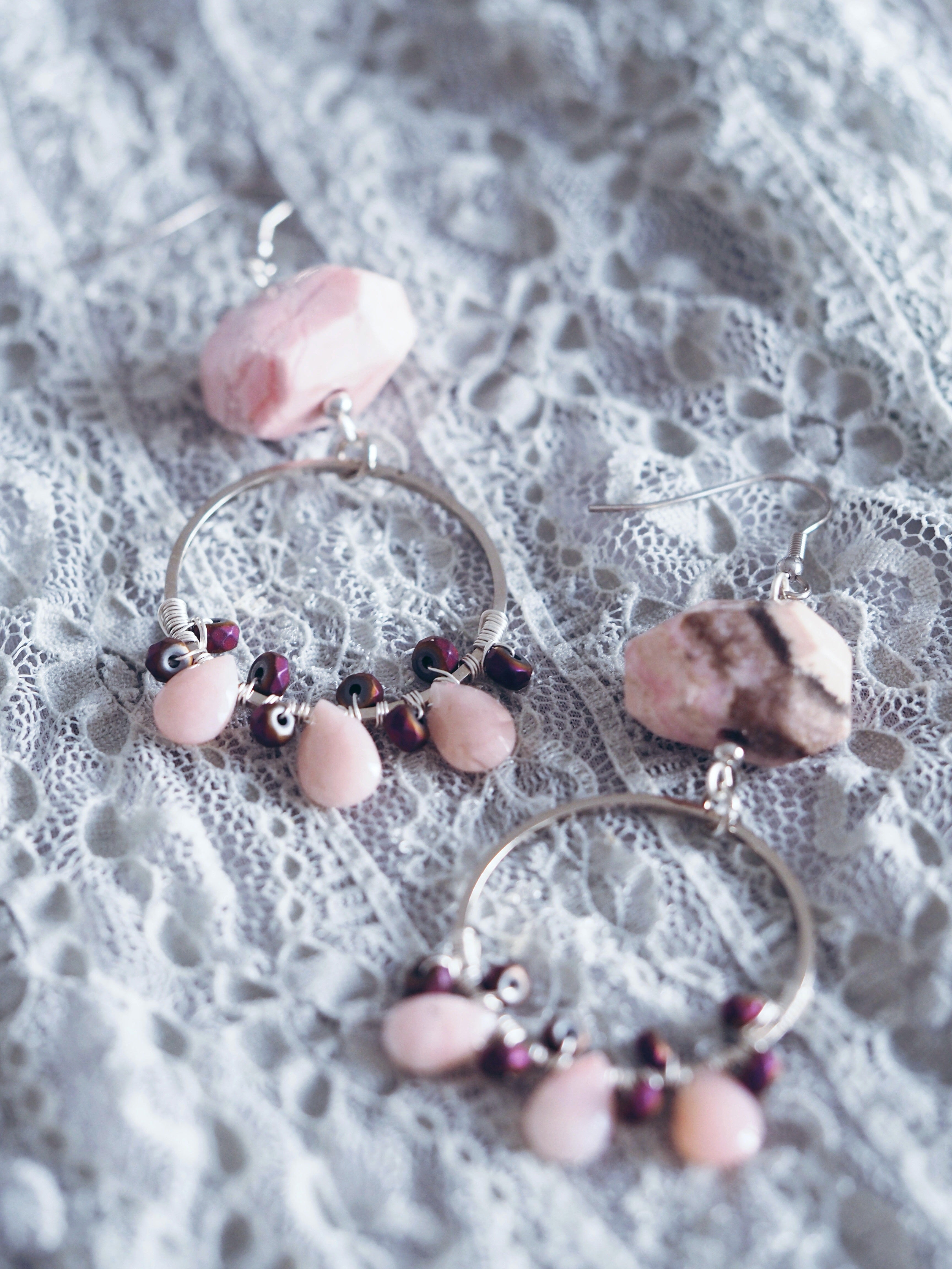 Norah earrings in Rhodonite & Pink Opal (Exclusive)