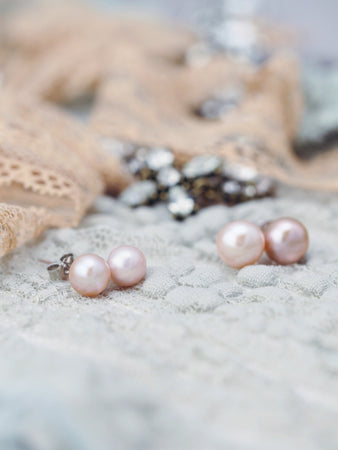 Pink rose pearl earrings studs 925 silver post