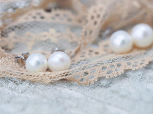 White freshwater pearl earring studs gift for women