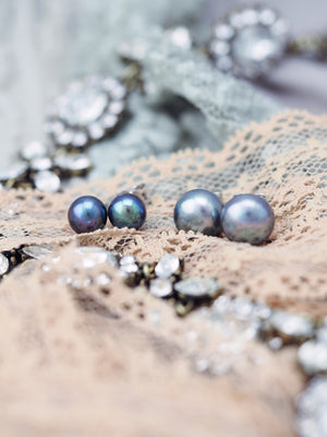 classic blue pearl earring studs