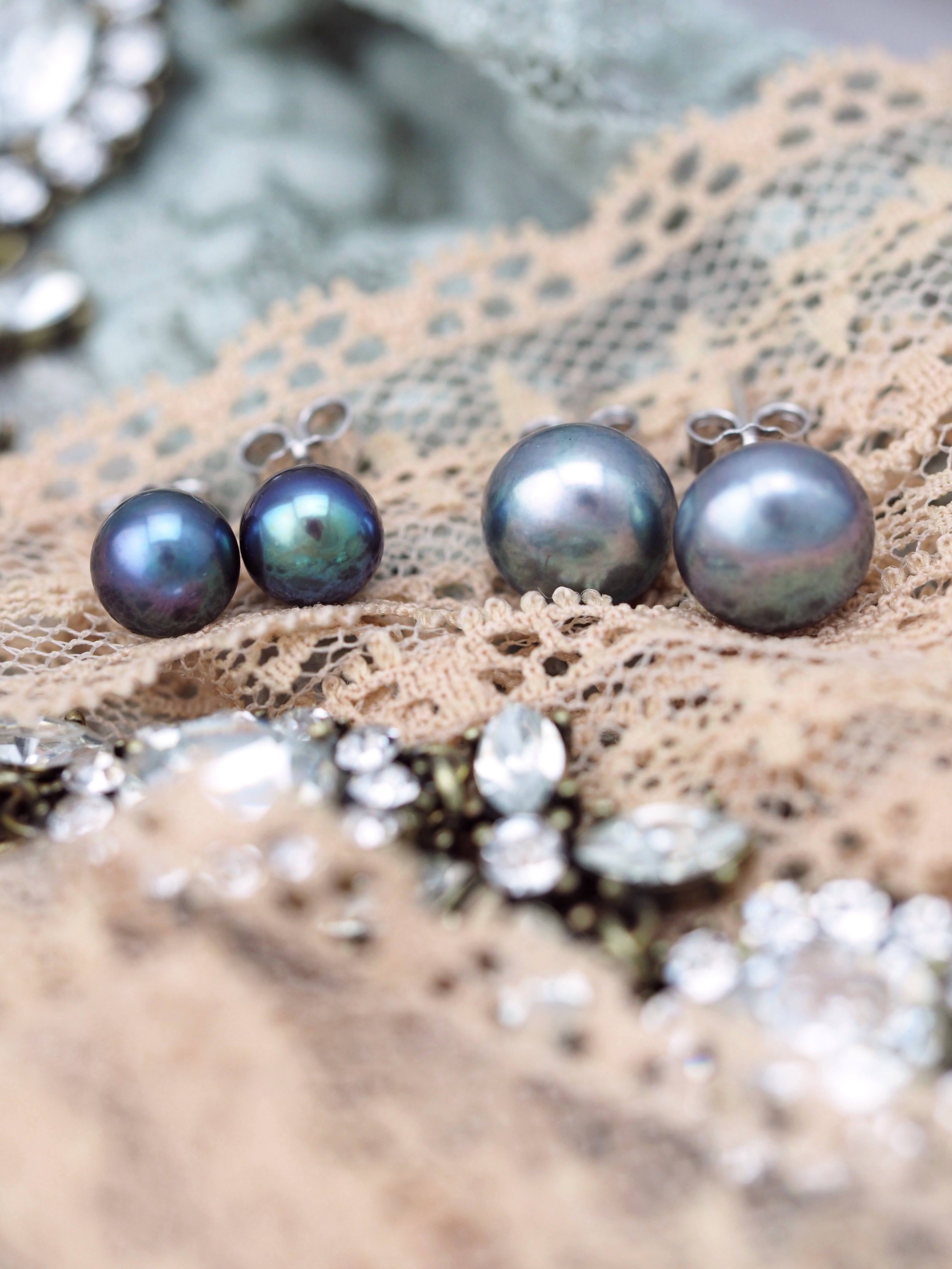 Freshwater pearl earrings sterling silver studs