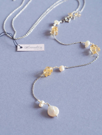 Ella gemstone lariat back necklace in Citrine