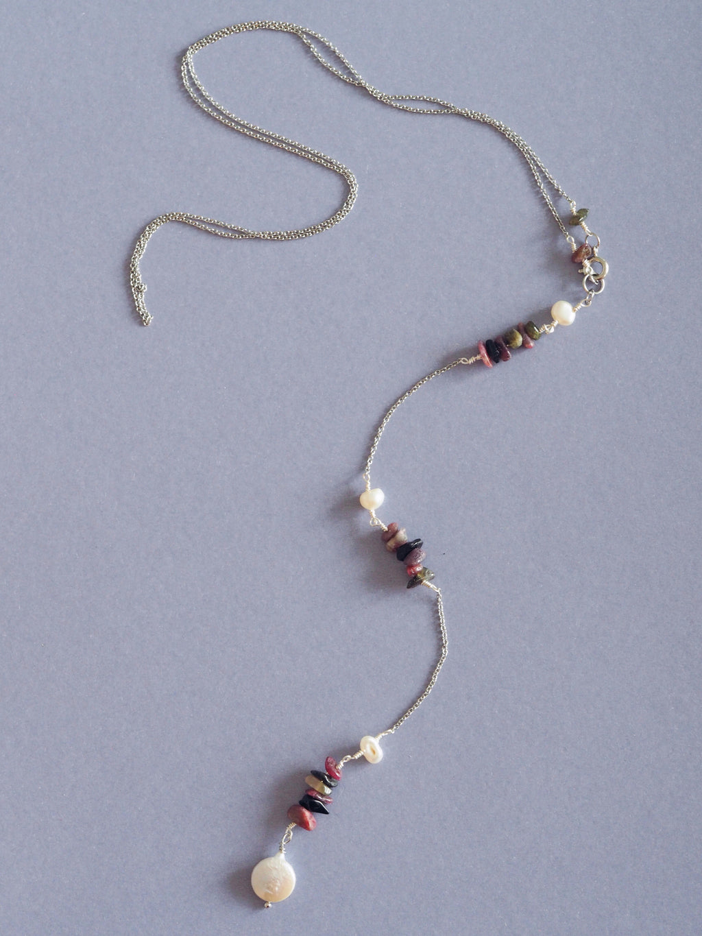 Ella gemstone lariat back necklace in Rhodonite