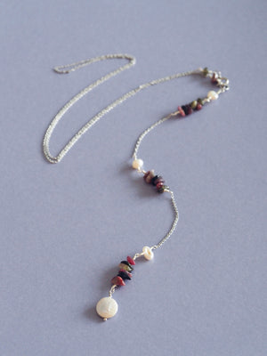 Lariat back necklace gemstone pearl