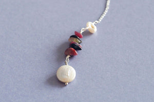 Handmade rhodonite necklace with pearl chain