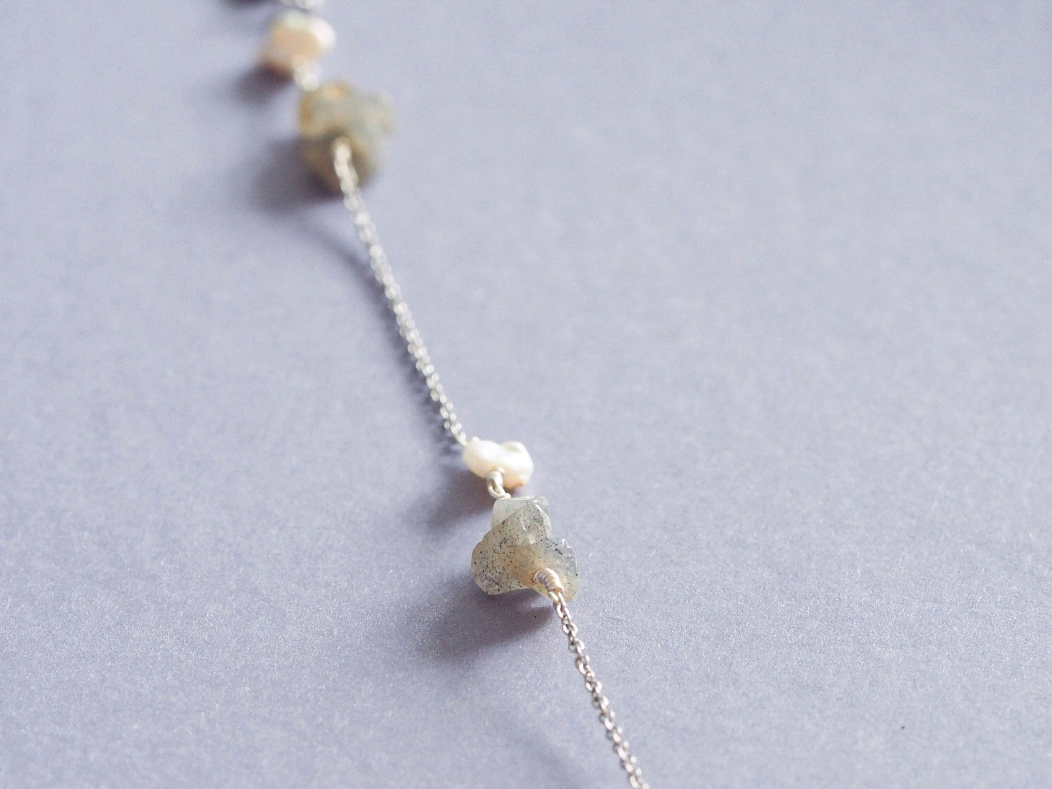 Ella gemstone lariat back necklace in Labradorite