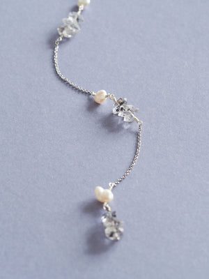 Herkimer diamond necklace with pearl