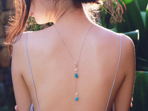Ella gemstone lariat back necklace in Turquoise