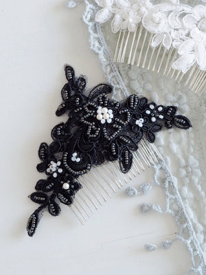 Unique beaded lace hairpiece handmade in Singapore & Hong Kong