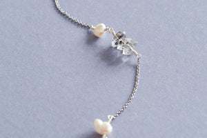 Ella gemstone lariat back necklace in Herkimer Diamond