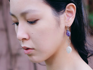 Amethyst gemstone earrings handmade Hong Kong jewellery