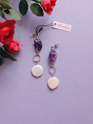 Freshwater baroque pearl and raw amethyst crystal earrings