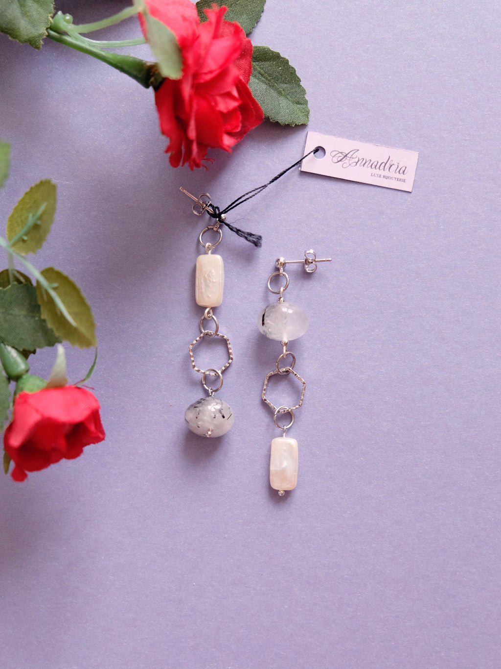 Imogen earrings in Rutilated Quartz
