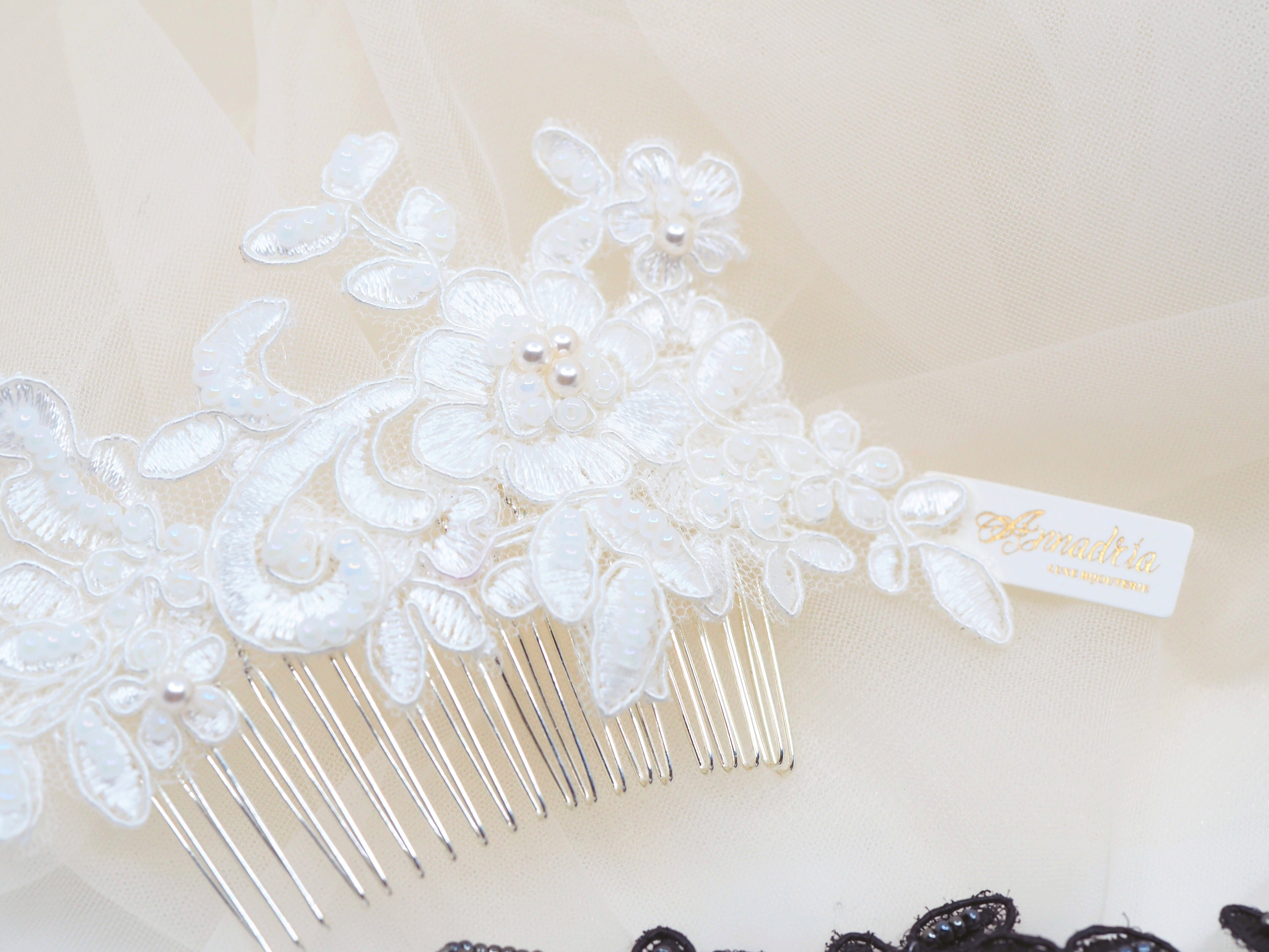 Vintage style lace headpiece handmade, embellished beaded occasion hair accessories