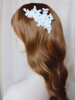 Classic bridal hairstyle waves with white lace hair comb wedding headpiece