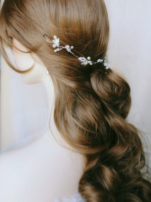 Handmade bridal hair vine hair down