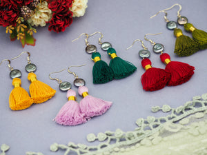 Colourful fun earrings tassel yellow pink green red