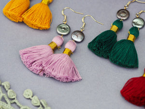Bohemian wedding earrings pink green tassel