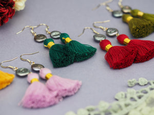 Handmade bohemian earrings colourful tassels