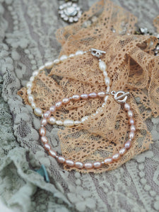 Classic freshwater pearl bracelet in white & rose