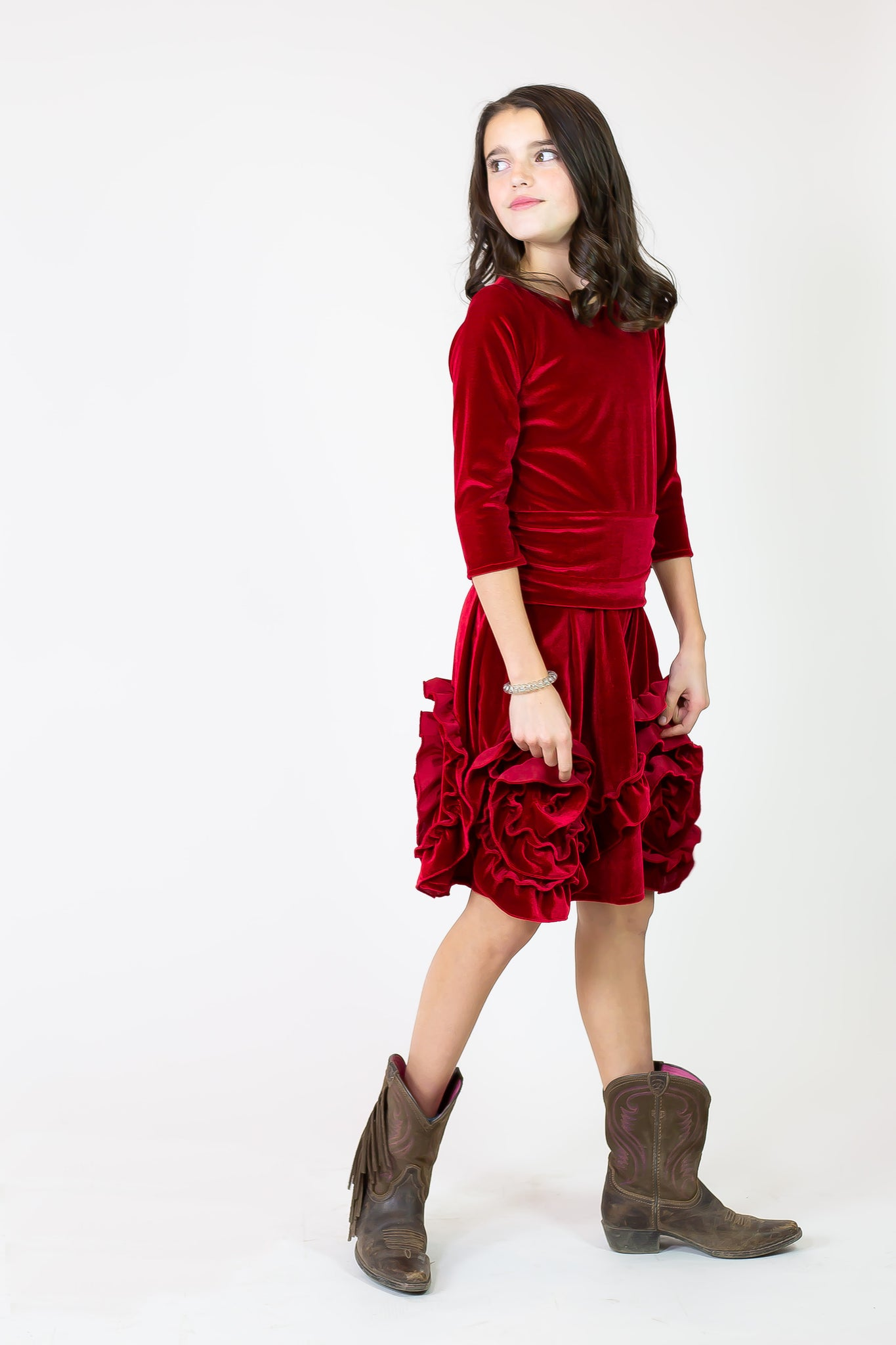 Holiday Red Velvet Boots Dress - Pre-sale