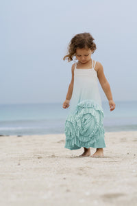 Full Bloom Maxi- Aqua dip