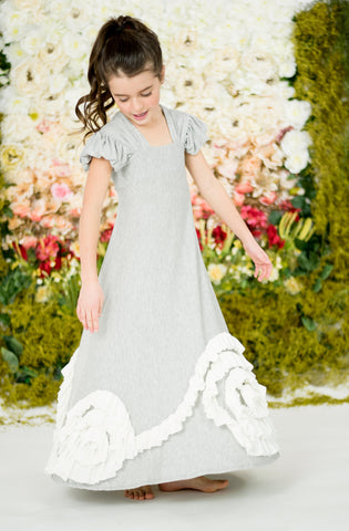 Rosy Ruffles Dress-Gray