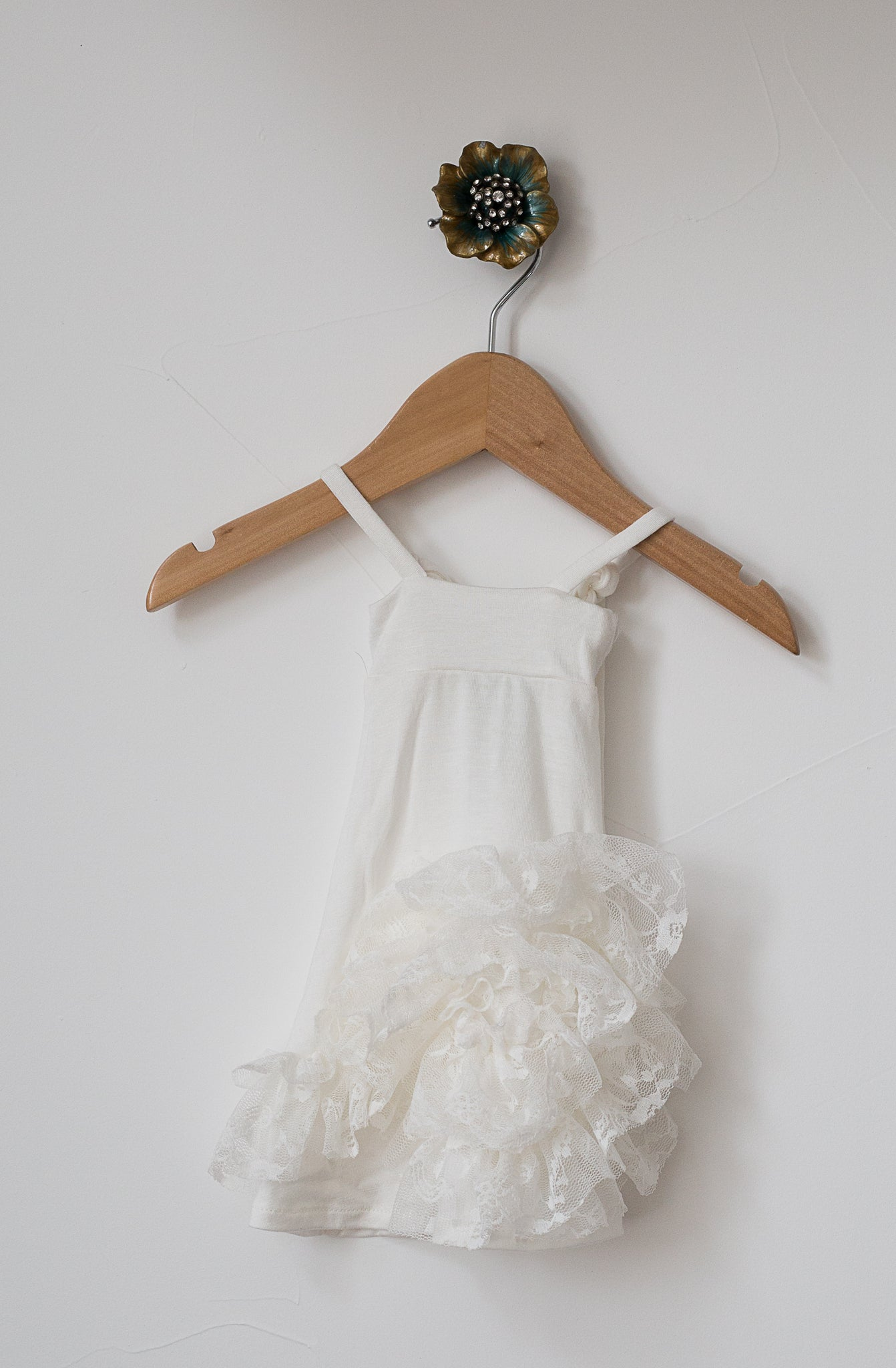Maxi Doll Dress- Ivory with Lace Detail