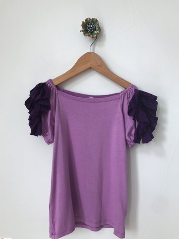Copy of Ruffled Shoulder Top- Purple