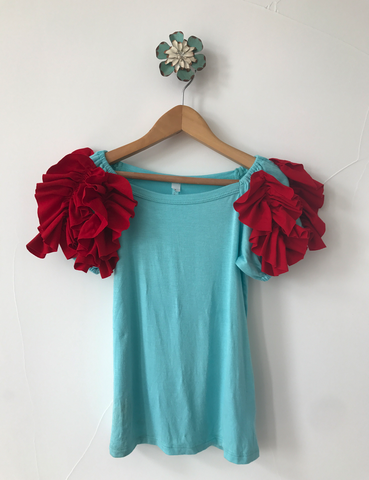 Ruffled Shoulder Top- Red/Aqua