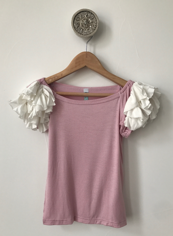 Ruffled Shoulder Top- Pink/Ivory