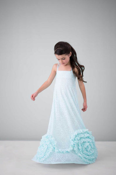 Full Bloom Maxi- Aqua Burnout