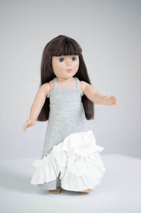 Maxi Doll Dress- Gray & Ivory Lace Detail