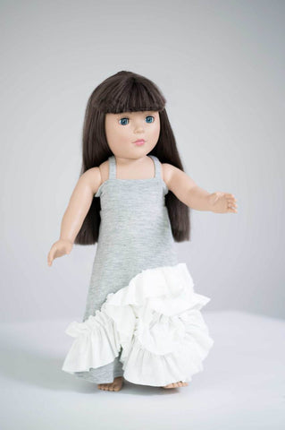 Maxi Doll Dress- Gray & Ivory