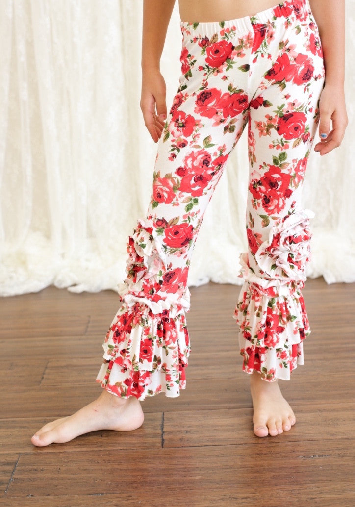 Peony Legging-Red Floral
